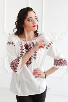 Items similar to Peasant Shirt Vyshyvanka Boho Ukrainian Blouse Floral Blouse Oversized White Cotton Top Summer Blouse White Tunic Without Pockets Abaya Boho on Etsy Summer Blouses, Summer Tops, Modern Tops, Floral Blouse, Blouse Dress, Stylish Dress Designs, Mexican Dresses, Ethnic Fashion, Boho Tops