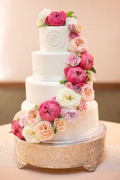 Cascading Ranunculus and Peony Wedding Cake #weddingcake #cakes
