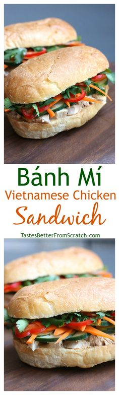 This homemade Banh Mi Sandwich is one of my all time favorites! And it's so easy to make from home! Recipe on TastesBetterFromScratch.com