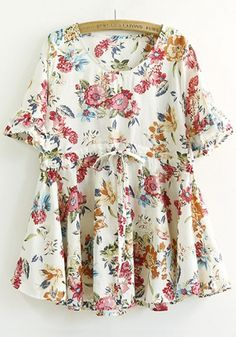Red Floral Print Drawstring Blouse