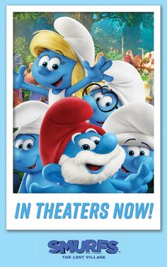 """""""Smurf selfie time! Blue Cheese!"""" Huge update: we're smurfing RIGHT NOW, folks! SMURFS: THE LOST VILLAGE is an all new animated Smurfs adventure screening in theaters all over the country! Catch Smurfette and her friends as they go on an action-packed journey to a mysterious village full of surprises... 