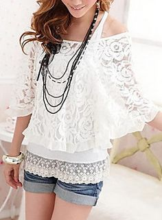 Two Piece Embroidery Puff Sleeve T-Shirt