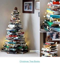 DIY Christmas tree for those who love to read!