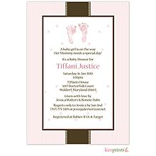 Pitter Patter Pink Footprints Baby Shower Invitation for a sweet girl