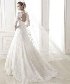 2015 nye lange ærmer blonder halterneck brudekjole