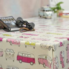 Camper Van in the Pink PVC Tablecloth - Fun & Funky Wipe-Clean Tablecloths - Tablecloths by Pattern | Wipeable Tablecloths & Accessories fro...
