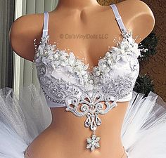 Silver White Winter Wonderland Rave Bra
