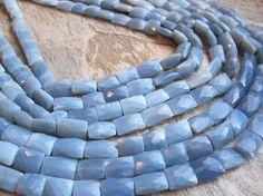 Owyhee Blue Opal Beads, Natural Owyhee Blue Opal, Faceted Pillow, Blue Gemstone, Owyhee Blue Opal, Oregon Opal, Wholesale Owyhee, SKU 2463