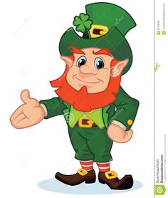Cartoon illustration of a happy cartoon leprechaun with his arm out.