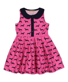 Take a look at this Pink Weiner Dog Peter Pan Collar Dress - Infant, Toddler & Girls today!