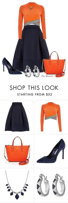 """""""Navy and Orange"""" by penny-martin ❤ liked on Polyvore featuring Maje, River Island, Kate Spade, Charles David, Lucky Brand and House of Harlow 1960"""