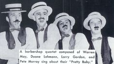 """My Manatee High School (Bradenton, FL) music buddies and our barbershop quartet performing in 1961 at our annual """"As You Like It"""" music department gala. We all graduated the following year."""