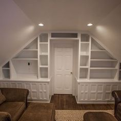 Mind blowing Attic storage,Attic renovation home improvements and Attic remodel second story. Small Attic Room, Attic Playroom, Attic Spaces, Attic Game Room, Small Spaces, Playroom Design, Bonus Room Design, Attic Design, Interior Design