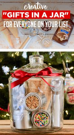 """Gift baskets have been done to death, so give a gift in a jar this year! Check out these 10 creative ideas for heartfelt holiday gifts packed up in a jar. gifts baskets 10 Unique Gift Ideas For An Amazing """"Gift In A Jar"""" Christmas Food Gifts, Christmas Gift Baskets, Homemade Christmas Gifts, Holiday Gifts, Christmas Diy, Santa Gifts, Irish Christmas, French Christmas, Christmas Activities"""