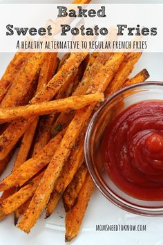 Baked Sweet Potato Fries - delicious, but they always come out soft and limp instead of crispy like fries. These baked sweet potato fries are delicious and bake up nice & crispy! Think Food, I Love Food, Good Food, Yummy Food, Tasty, Yummy Recipes, Vegetarian Recipes, Cooking Recipes, Healthy Recipes