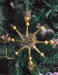 Victorian Trading Co Gold Star Christmas Tree Ornament Set 4