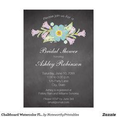 Chalkboard Watercolor Flowers Bridal Shower 5x7 Paper Invitation Card