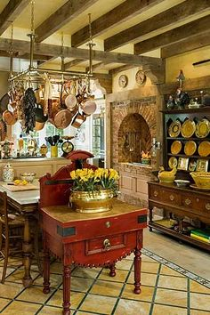 French Farmhouse Kitchen look at all the wood in the kitchen.keep that in mind when redoing La Deney kitchen Decor, Home Kitchens, Kitchen Dining Room, Kitchen Decor, Country Kitchen, French Country Kitchens, French Decor, Home Decor, French Country Kitchen