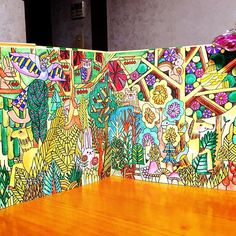 Instagram media kurinn_me - No.59森の中のかくれんぼ‼️何匹みつけられるかな❓今日のは、水彩色鉛筆、水筆  #大人の塗り絵#森の王国#福田利之#コロリアージュ#ぬりえ#水彩色鉛筆#カランダッシュ #パステルペンシル#ダーウェント#水筆#ステッドラー#adultcoloring#adultcoloringbook#coloriage#watercoloredpencils#carand'Ache#pastelpencils#DERWENT#waterbrush#staedler