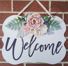chalk couture welcome sign. welcome with flowers.
