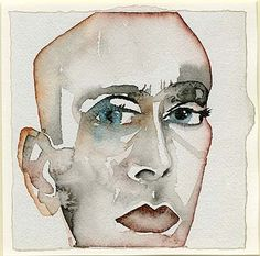 Francesco Clemente, Self Portrait (1993). Watercolour on Indian paper