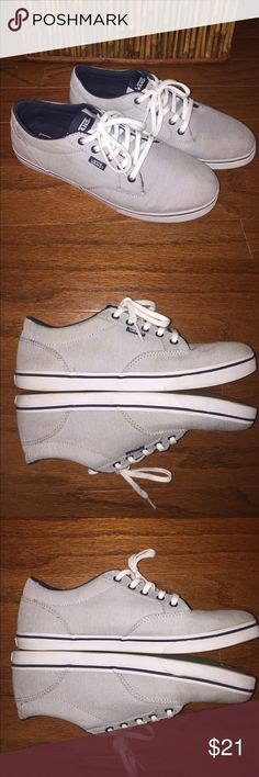 Vans Pinstripe Ladies Sneaker Good condition, some normal wear, does need some cleaning but still in really good condition, white with dark blue pinstripes, white rubber soles, women's size 9, Extremely nice looking sneaker! Vans Shoes Sneakers
