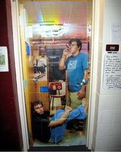 Doing this with my roommates. A picture on the door of what your doing in the room.