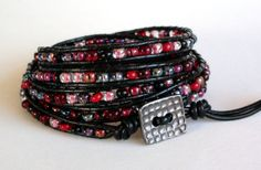 Vampire Kisses  Black and Red 5x Leather Wrap by TaphiaDesigns