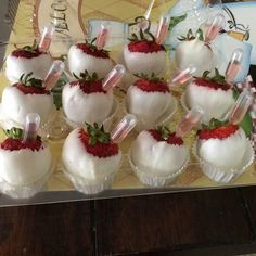 White chocolate covered strawberries with moscato injected into them