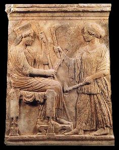 Relief representing Demeter and her daughter, c. 480 BC.  Archaeological Museum, Eleusis 5085. Hellenic Ministry of Culture/Archaeological Receipts Fund.  Preka-Alexandri, K., Eleusis, Hellenic Ministry of Culture-Archaeological Receipts Fund, Athens 1997, p. 29, fig. 16.