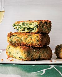 """Golden Semolina Quinoa Spinach Cakes Recipe from Food & Wine    These healthy vegetarian patties are coated with panko bread crumbs so they become deliciously crispy in the skillet. """"I add quinoa to make these semolina cakes a little fluffier and healthier. I love to serve them topped with a poached egg,"""" says Maria Helm  Sinskey.  I want to try these with swiss chard"""