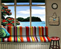 Matapouri Window by Tony Ogle for Sale - New Zealand Art Prints New Zealand Landscape, New Zealand Art, Nz Art, Kiwiana, Through The Window, Beach Art, Landscape Paintings, Modern Paintings, Unique Art