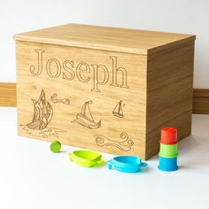 Personalised Ship Wooden Toy Box
