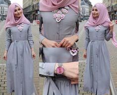 grey dress for hijabis Abaya Fashion, Modest Fashion, Girl Fashion, Fashion Outfits, Womens Fashion, Fashion Muslimah, Muslim Women Fashion, Islamic Fashion, Hijab Outfit