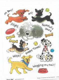Dogs with Toys Suzy's Zoo  Sticker for Scrapbooking