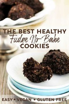 Treat yourself to delicious fudge no-bake cookies without all the butter and sugar! So easy you make them right in your food processor or blender - no cooking! #vegan #gluten #free #clean #natural #easy #no #bake #cook #blender #food #processor #fudge #chocolate #cocoa #date #cookies #oats #oatmeal