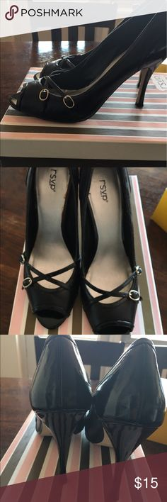RSVP black Patent leather stilettos Barely worn. Heels are in tact. Scuffing on sole. Super sexy stiletto. Black patent. I have a shoe bag and the box. rsvp Shoes Heels