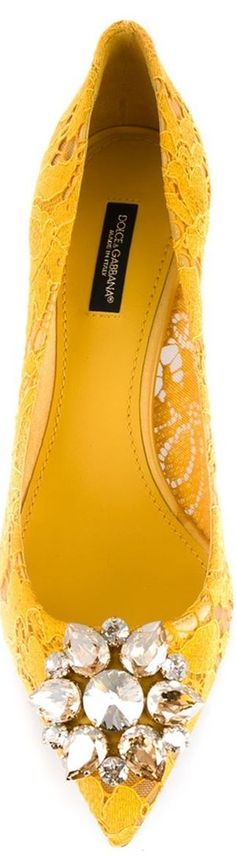 DOLCE & GABBANA Floral Lace Embellished Pumps, Yellow: