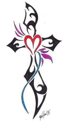 Tribal cross and heart tattoo.