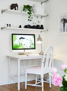 Small Space Decorating Ideas:I love the shelf for my lenses and cameras