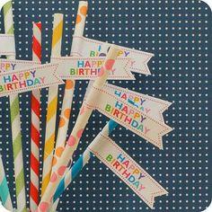 Striped Straws & Flags
