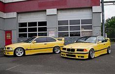 Que bela dupla!!! Duas BMW M3 (e36) amarelas, verdadeiros clássicos.