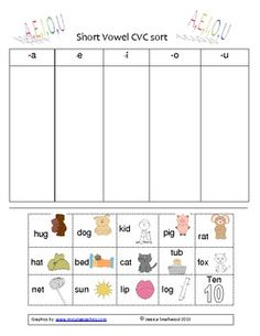 Short Vowel CVC word sort. Check it out!