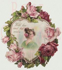 Victorian Rose Scraps Heart ~