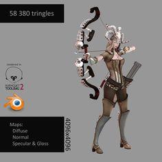 3D Model Elven Huntress   Fantasy Character 3D Models   DavidDvorak - 3D…