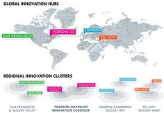 Toronto-Waterloo Innovation Corridor in comparison with other global innovation hubs and regional innovation clusters. Notice that we are the only cluster without the word 'silicon' in it.