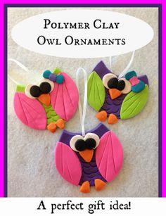Polymer Clay Owl Ornaments