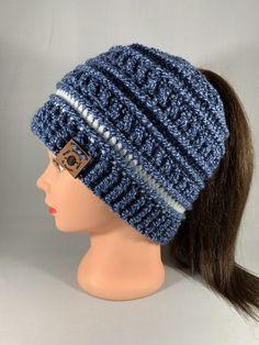 Women/'s Crochet Messy Bun Beanie Girls Ponytail Hat Light Purple Crochet Hat READY TO SHIP