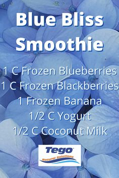 Blue Bliss Smoothie #smoothie #blue #tegotea #bliss #blueberries #tea #natural #healthy How To Freeze Blackberries, Frozen Blueberries, Frozen Banana, Coconut Milk, Blackberry, Yogurt, Blackberries, Rich Brunette