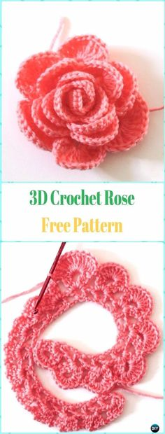 Easy Crochet 3D Rose Flower Free Pattern in 9 Steps Crochet Roses, Knitted Flowers, Crochet Bouquet, Rosas Crochet, Crochet Flower Patterns, Easy Crochet Flower, Fleur Crochet, Thread Crochet, Crochet Designs